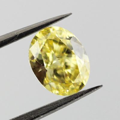 Fancy Intense Yellow Diamond, Oval, 0.72 carat, VVS2
