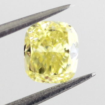 GIA Cushion Fancy Intense Yellow Diamond, 0.52 carat