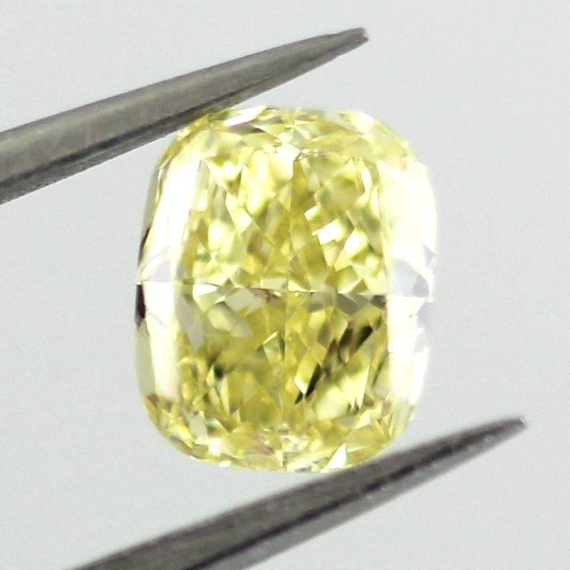 Fancy Intense Yellow Diamond, Cushion, 0.54 carat, VS2