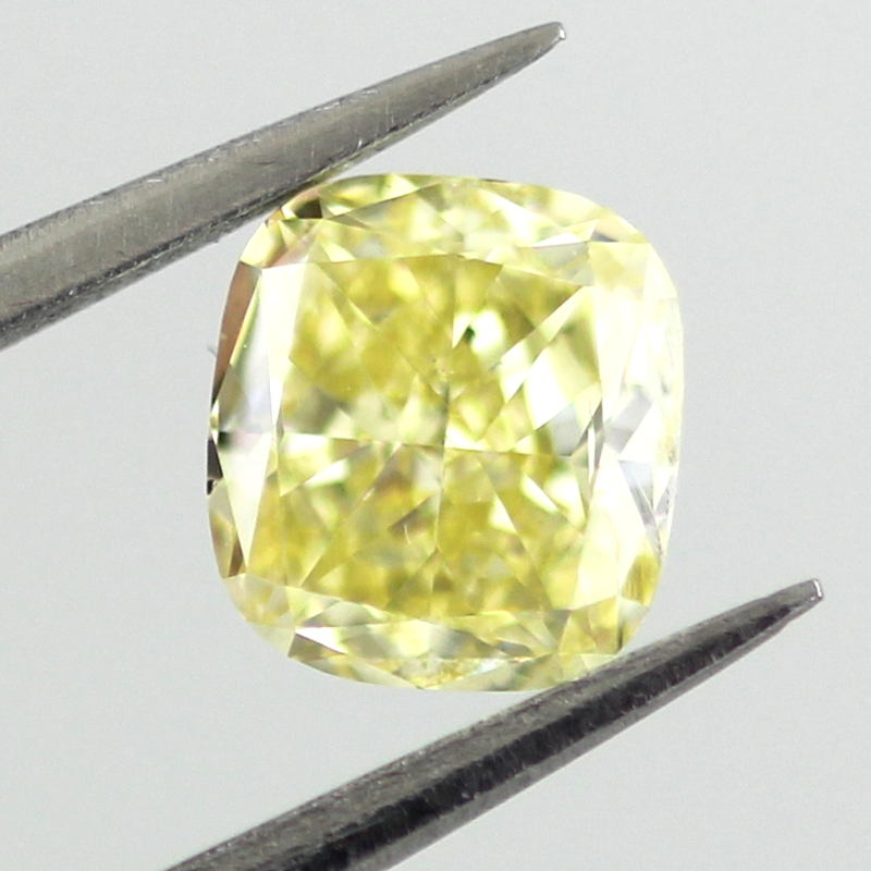 Fancy Intense Yellow Diamond, Cushion, 0.61 carat, SI1
