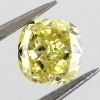 GIA Cushion Fancy Intense Yellow Diamond, 0.32 carat
