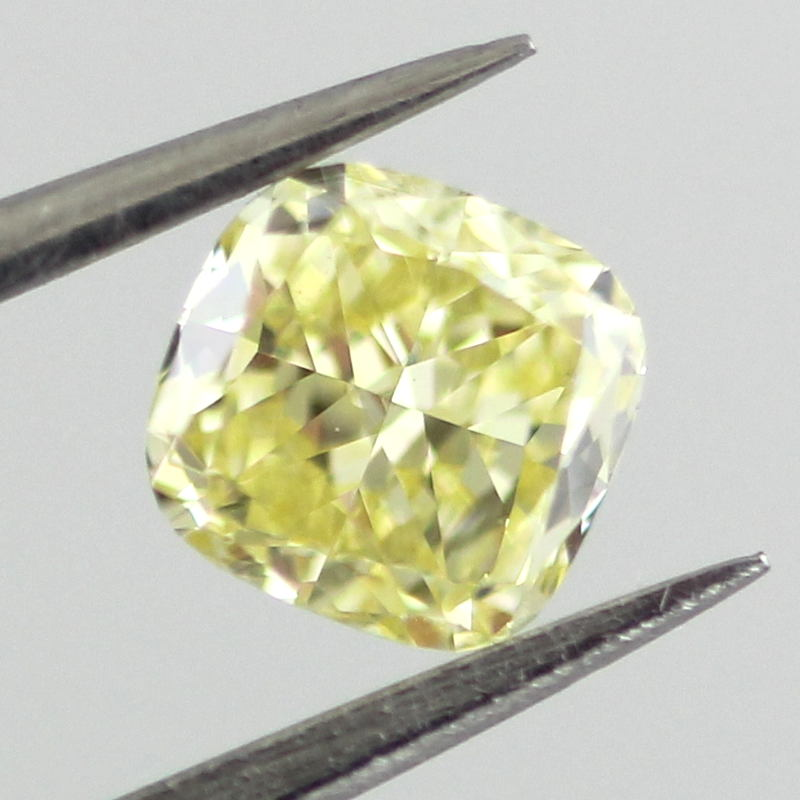 Fancy Intense Yellow Diamond, Cushion, 0.51 carat, VS1