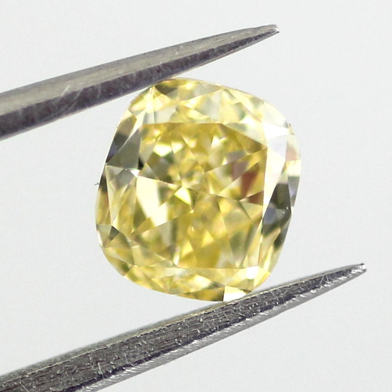 Fancy Intense Yellow Diamond, Cushion, 0.50 carat, VS1