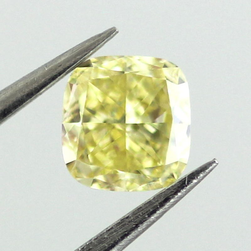 Fancy Intense Yellow Diamond, Cushion, 0.33 carat, VVS2