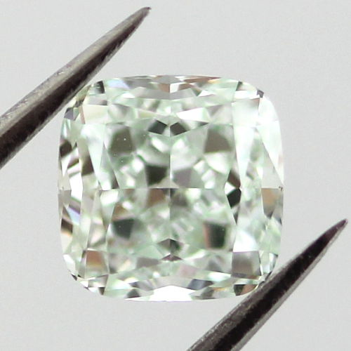 Fancy Light Bluish Green Diamond, Cushion, 0.66 carat, VS2