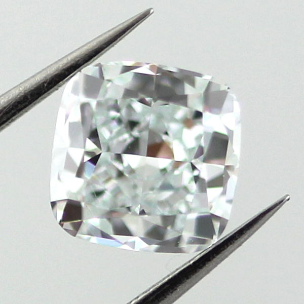 Fancy Light Bluish Green Diamond, Cushion, 0.55 carat, VS1
