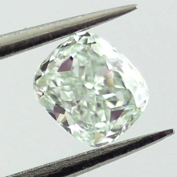 GIA Cushion Fancy Light Green Diamond, 0.35 carat