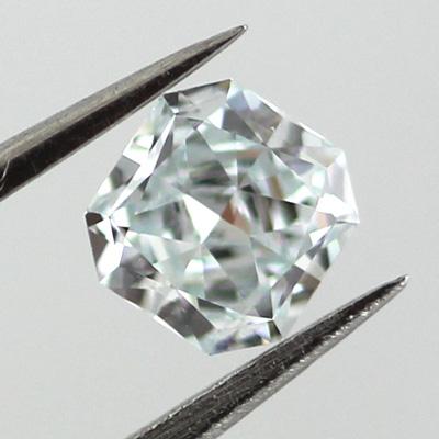 Fancy Light Greenish Blue Diamond, Radiant, 0.37 carat, VVS2