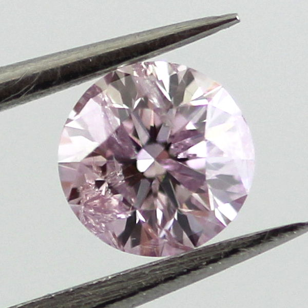 Fancy Light Purplish Pink Diamond, Round, 0.37 carat