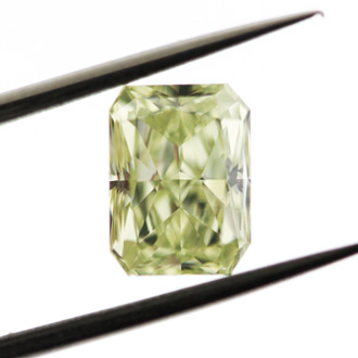 Fancy Light Yellow Green Diamond, Radiant, 1.53 carat, IF