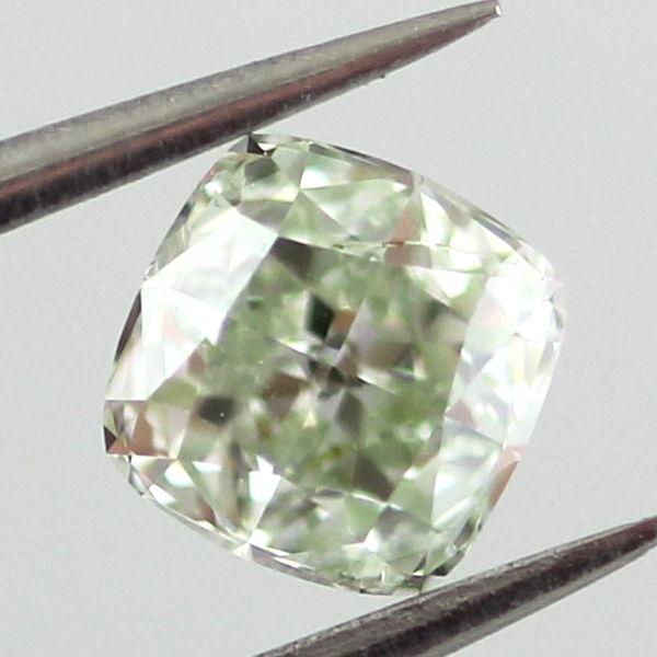 Fancy Light Yellow Green Diamond, Cushion, 0.51 carat, SI2