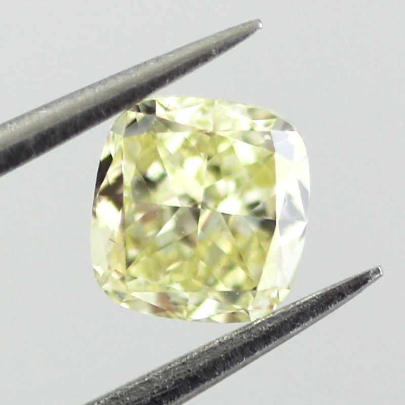 Fancy Light Yellow Diamond, Cushion, 0.56 carat, VS1 - B