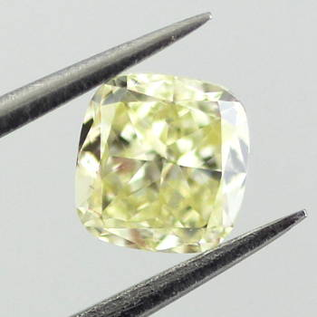 Fancy Light Yellow Diamond, Cushion, 0.56 carat, VS1 - Thumbnail
