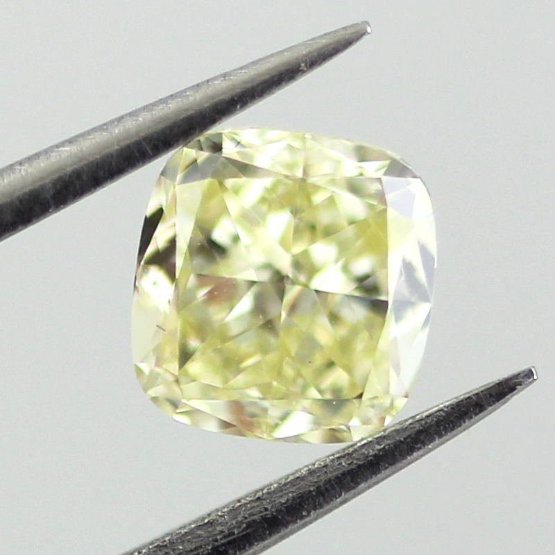 Fancy Light Yellow Diamond, Cushion, 0.56 carat, VS1