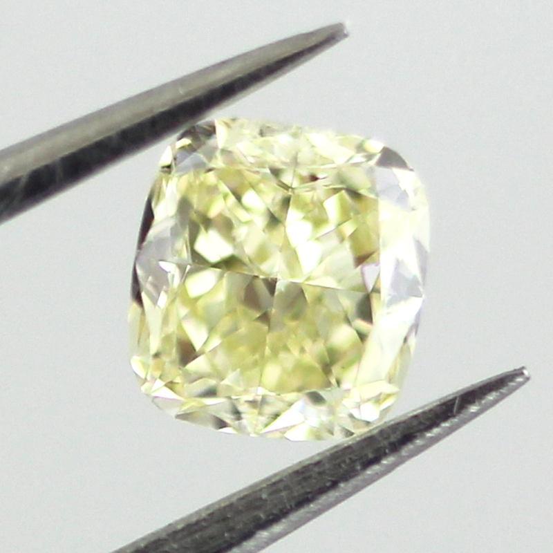 Fancy Light Yellow Diamond, Cushion, 0.41 carat, VS1