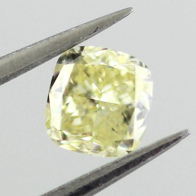 Fancy Light Yellow Diamond, Cushion, 0.41 carat, SI2