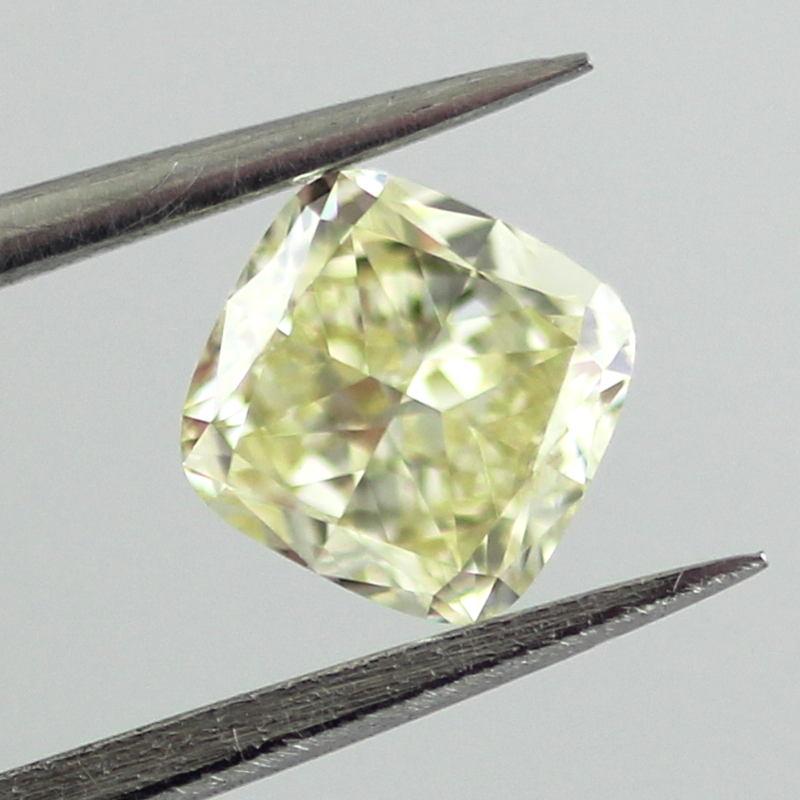 Fancy Light Yellow Diamond, Cushion, 0.64 carat, VVS2