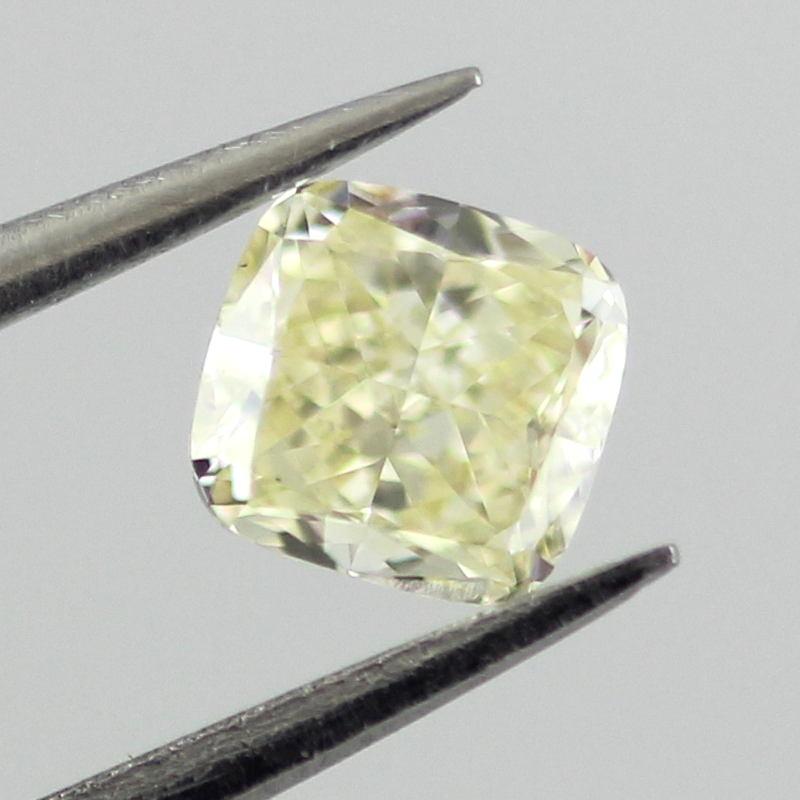 Fancy Light Yellow Diamond, Cushion, 0.31 carat, VS2