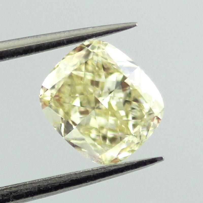 Fancy Light Yellow Diamond, Cushion, 0.91 carat, SI1