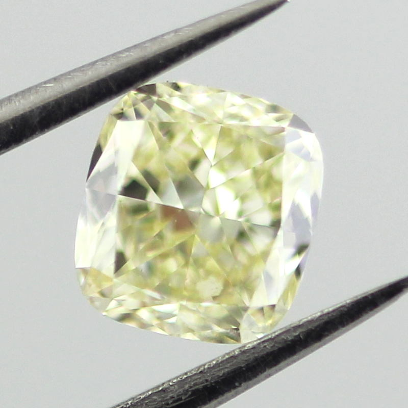 Fancy Light Yellow Diamond, Cushion, 0.63 carat, VVS2