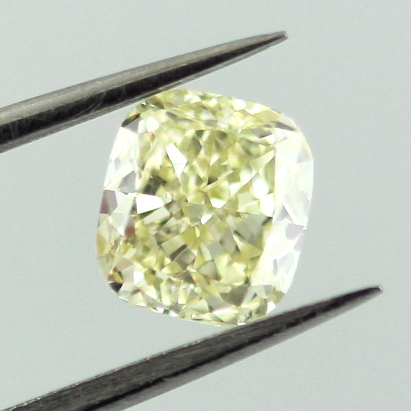Fancy Light Yellow Diamond, Cushion, 0.91 carat, VVS2- C