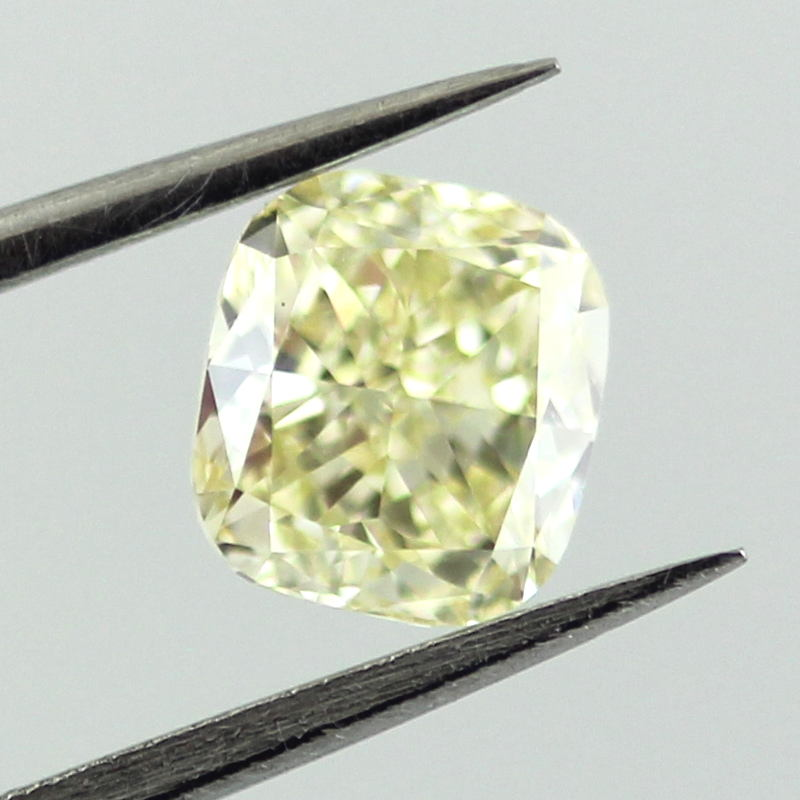 Fancy Light Yellow Diamond, Cushion, 0.91 carat, VVS2