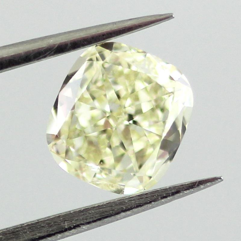 Fancy Light Yellow Diamond, Cushion, 0.80 carat, VS1