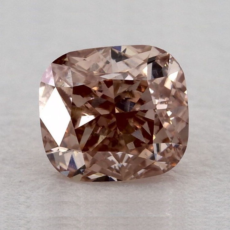 Fancy Orangy Pink Diamond, Cushion, 0.51 carat