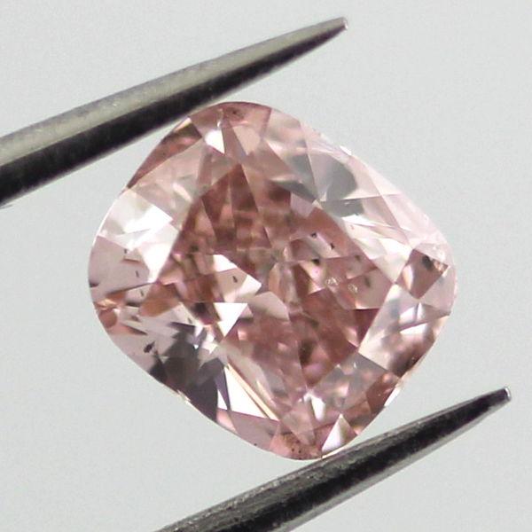 Fancy Orangy Pink Diamond, Cushion, 0.51 carat, SI1