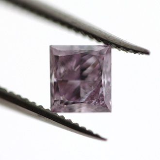 Fancy Pink Purple Diamond, Princess, 0.45 carat - B