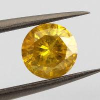 Fancy Vivid Orangy Yellow, 0.88 carat