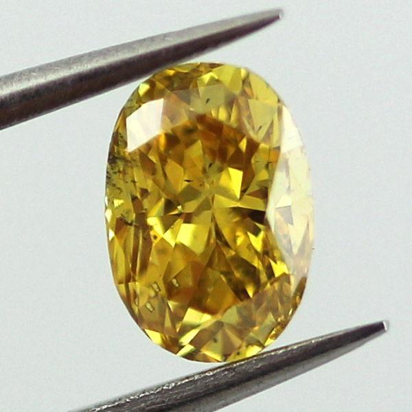 Fancy Vivid Orangy Yellow Diamond, Oval, 0.56 carat