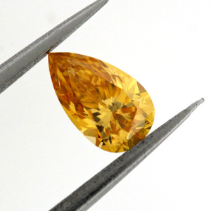 Fancy Vivid Yellow Orange Diamond, Pear, 0.36 carat, SI2