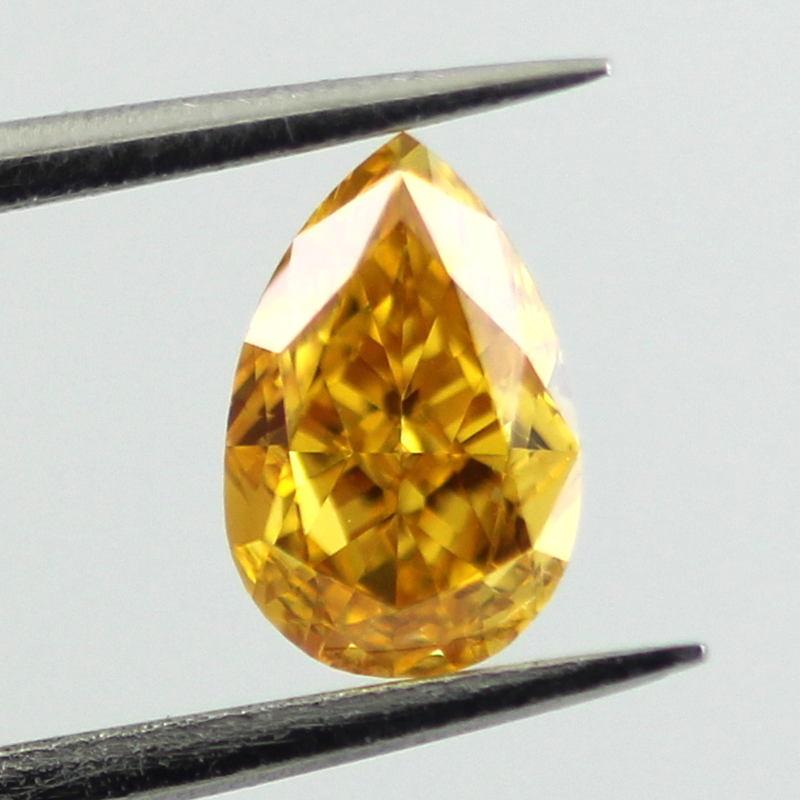 Fancy Vivid Yellow Orange Diamond, Pear, 0.58 carat, SI1