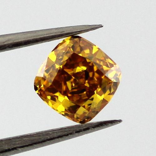 Fancy Vivid Yellow Orange Diamond, Cushion, 0.38 carat