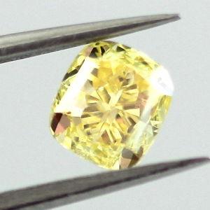 Fancy Vivid Yellow Diamond, Cushion, 0.70 carat, VS2 - Thumbnail