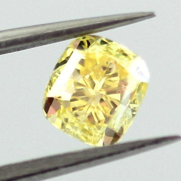 Fancy Vivid Yellow Diamond, Cushion, 0.70 carat, VS2