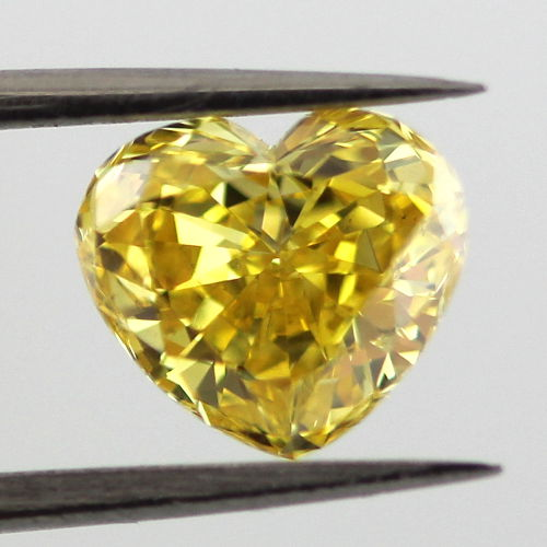Fancy Vivid Yellow Diamond, Heart, 1.25 carat, VS2