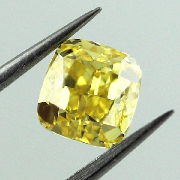 Fancy Vivid Yellow Diamond, Cushion, 1.02 carat, SI1