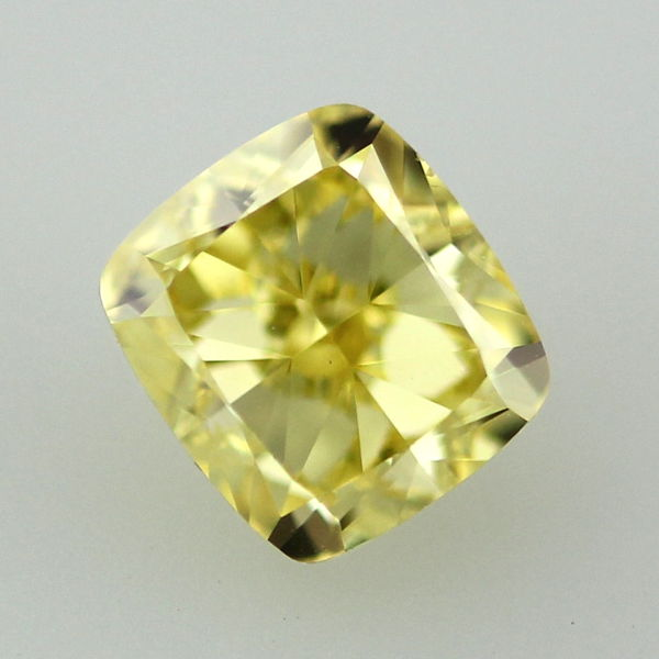 Fancy Vivid Yellow Diamond, Cushion, 1.11 carat, VS2