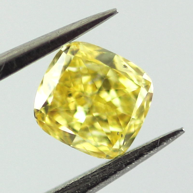 Fancy Vivid Yellow Diamond, Cushion, 0.31 carat, SI2 - B