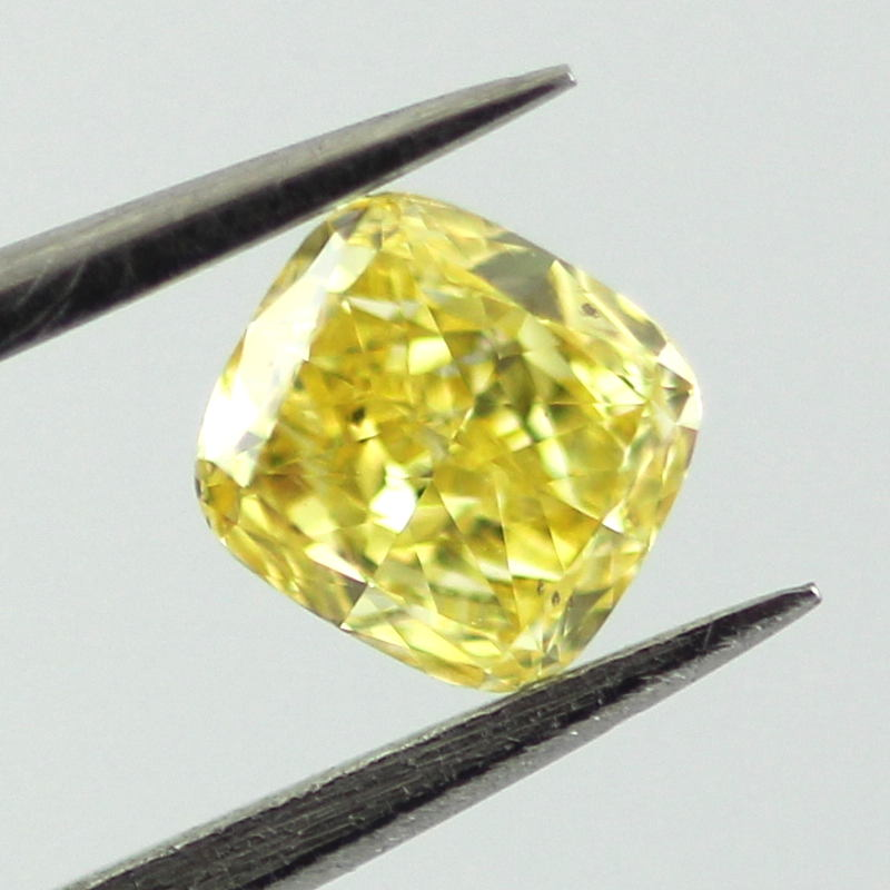 Fancy Vivid Yellow Diamond, Cushion, 0.31 carat, SI2- C