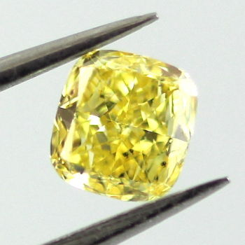 Fancy Vivid Yellow Diamond, Cushion, 0.31 carat, SI2 - Thumbnail