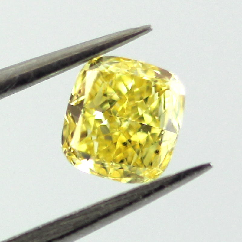 Fancy Vivid Yellow Diamond, Cushion, 0.31 carat, SI2