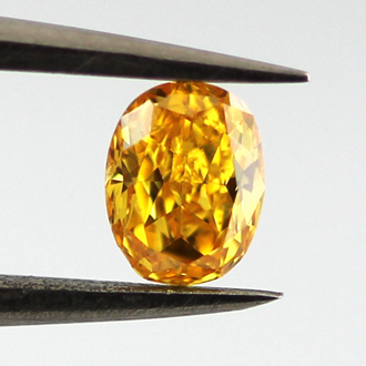 Fancy Vivid Yellowish Orange Diamond, Oval, 0.29 carat, SI1