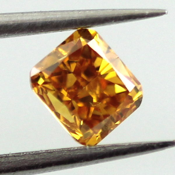 Fancy Vivid Yellowish Orange Diamond, Cushion, 0.50 carat