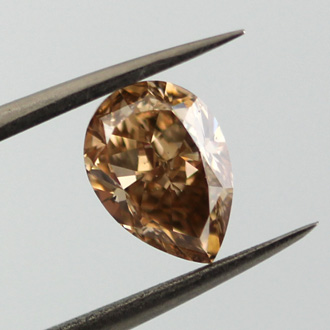 Fancy Yellow Brown Diamond, Pear, 1.55 carat, SI2- C