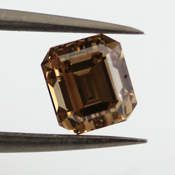 Fancy Yellow Brown Diamond, Emerald, 1.01 carat, VS2 - B