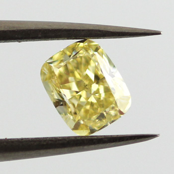 Fancy Yellow Diamond, Cushion, 0.67 carat, SI1 - B