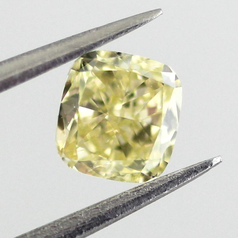 Fancy Yellow Diamond, Cushion, 0.41 carat, VS2 - B
